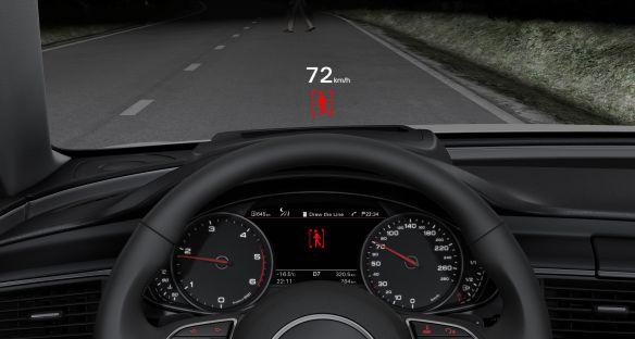 Zur Sicherheit: Das Head-up-Display kann auch die Informationen des Nachtsichtsystems zeigen