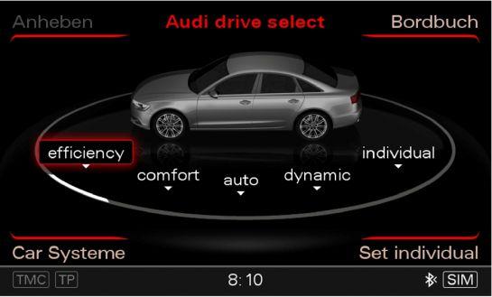 Fünf Betriebsebenen: Das Audi drive select-Menü im Audi A6