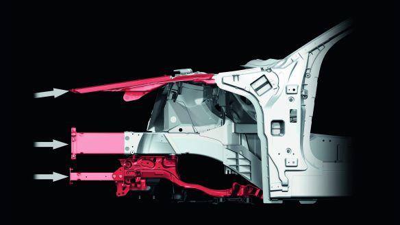 Lastpfade im Audi A8-Vorderwagen: Bei einem Frontalcrash verteilt sich die Energie