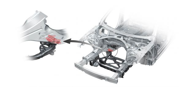 Audi A6: Aufwändige Anbindung des Vorderachsträgers an die Karosserie