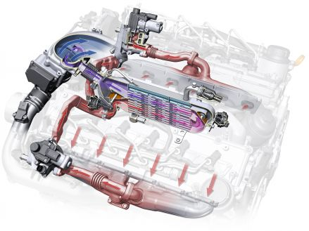 EGR in the V12 TDI: the radiator sits in the engine's inside V