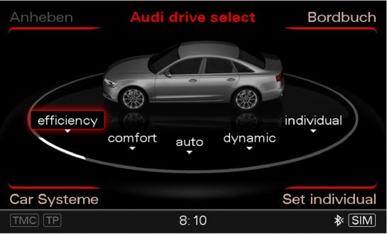 Five operating modes: the Audi drive select menu in the Audi A6