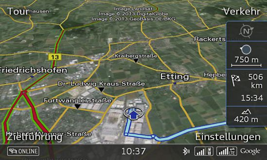 Google Earth mit Verkehrsinformationen Online via LTE