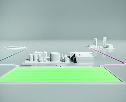 Produktion von e-ethanol und e-diesel mit Zuleitung Wasser, Verarbeitungsanlage, Becken für Photosyntheseprozess, Zuleitung CO₂