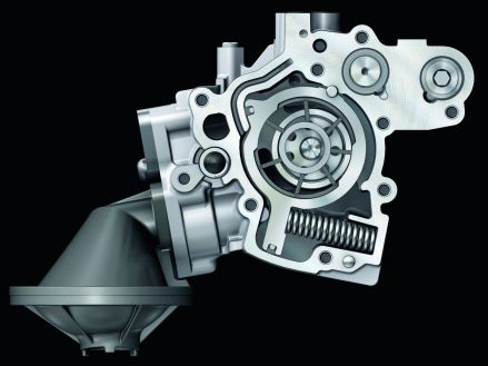 """Vane pump: the """"adjusting ring"""" is moveable"""