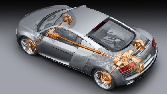 Engine at the rear, propeller shaft toward the front: the Audi R8