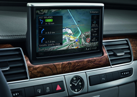 Feinste 3D-Grafik: Der Monitor im Audi A8