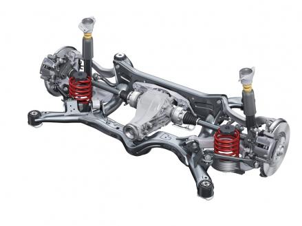 Highend-Lösung von Audi: Spurgesteuerte Trapezlenker-Hinterachse für die meisten größeren Baureihen, hier im neuen Audi A6