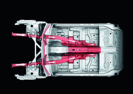 Load paths in the underfloor of the Audi A8: the longitudinal members converge with the center tunnel