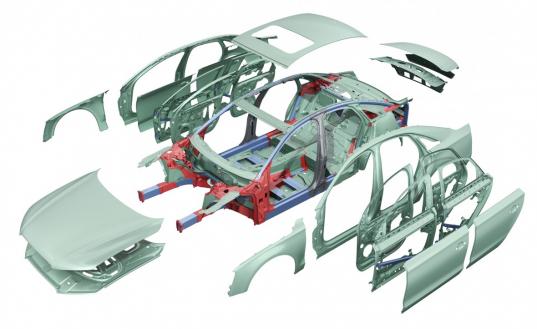 Vier Halbzeuge beim Audi A8: Aluminium-Bleche (grün), Gussteile (rot), Strangpressprofile (blau) und stählerne B-Säulen (grau)