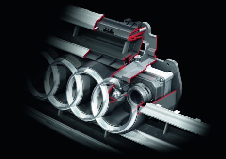 Hidden camera: the system's optics are behind the left Audi ring