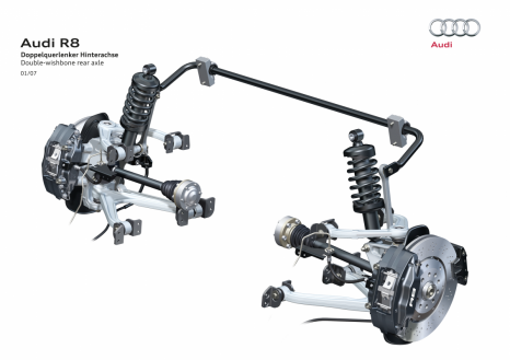 Extremely responsive: double-wishbone rear suspension in the Audi R8